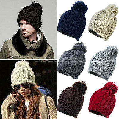 Unisex Mens Womens Winter Warm Knitted Oversized Slouch Bobble Pom Hat Beanie