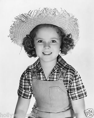 Shirley Temple in country straw hat & overalls child movie star 8x10 rare photo