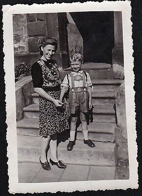 Old Antique Vintage Photograph Mom With Little Boy Wearing Swiss / Dutch Shorts