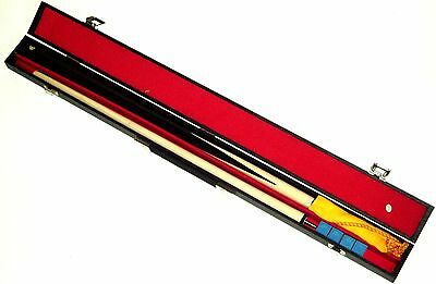 "2 Piece 48"" Pool Cue With Hard Case, Chalk & Tip Shaper"