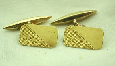 Vintage 1960's Lovely Pair of Half Engraved 9ct Gold Cufflinks