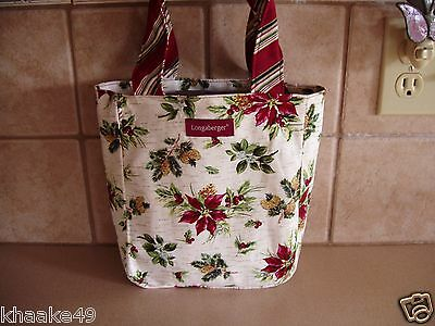 LONGABERGER HOLIDAY BOTANICAL SMALL TOTE BAG * HOLLY BERRIES & POINSETTIAS * NEW