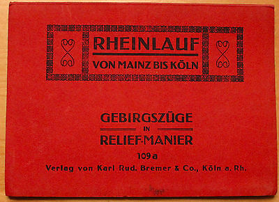 Original Vintage Rhine River Map from Mainz to Cologne