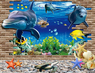 3D ocean dolphins home Decor Removable Wall Sticker/Decal/Decoration