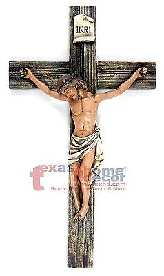Crucifix Wall Cross Jesus Christ INRI Faux Wood Look Catholic Wall Decor 14 in
