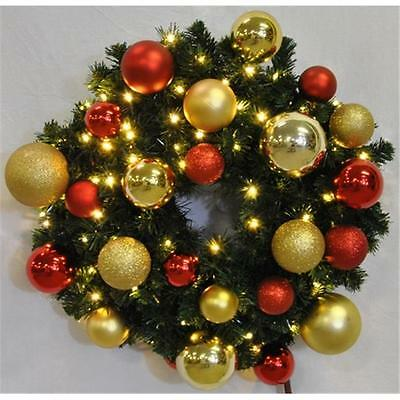 4 ft. Pre-Lit Warm White Sequoia Wreath Decorated with The Red and Gold Ornam...