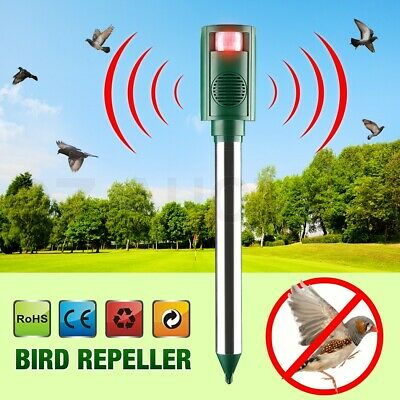 LED Function Ultrasonic PIR Bird Repeller Pest Repellent Cat Rats Dogs Raccoons