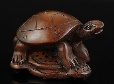 Nice Chinese Old Wood Collectable Handwork Carved Turtle Statue Netsuke Ornament
