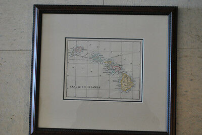 Antique Map, Sandwich Islands, Hawaii, Map, Wood Engraving 1888