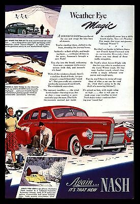 "Original 1940 ""nash"" Classic Car Vintage Advertising Art Print Ad"