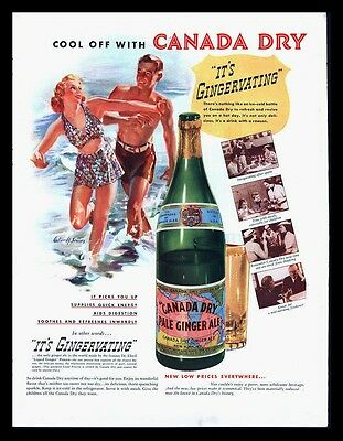 "Original1937  ""canada Dry"" Gingervating - Beach Scene  Vintage Art Print Ad"