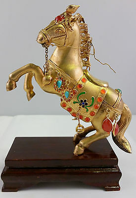 Chinese Sterling Silver Vermeil Horse Statue Filigree Cloisonne Turquoise Export