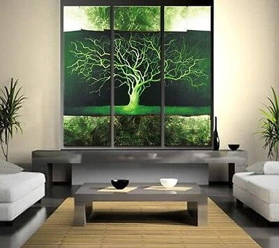 HOT SALE 3PC Green trees MODERN ABSTRACT HUGE WALL ART OIL PAINTING ON CANVAS