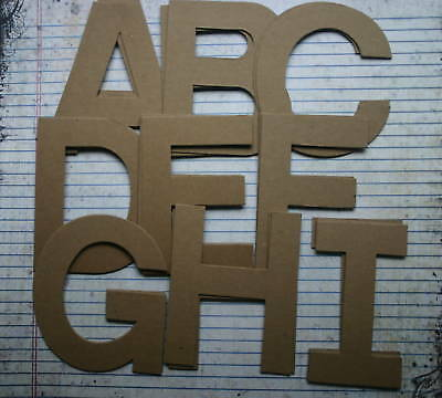 """4"""" chipboard BLOCK uppercase unfinished/raw alphabet 26 letters"""