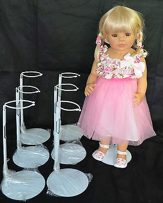 Six Metal Doll Stands, Coated Gripper For Waist, Fits Up To 30-inch Dolls, New