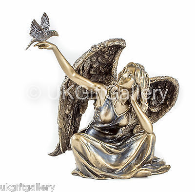 Veronese Bronze Finish Resin Angel With Bird Right Hand Sculpture NEW IN (811)