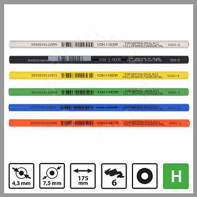 6 KOH-I-NOOR CHINAGRAPH PENCILS 1 Each of  Red Blue Green Black Yellow  & White