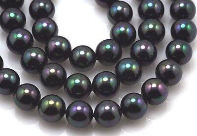 Peacock Black Round Sea Shell Pearls 6mm 8mm 10mm 12mm- 1 string