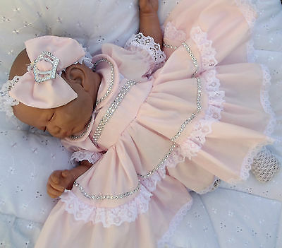 dream romany baby girls  or reborn dolls pink bling dress headband all sizes ava