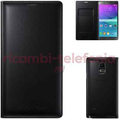 custodia Flip Wallet originale Samsung Galaxy Note 4 nero smart cover pelle