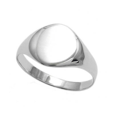 925 Sterling Silver Engravable Women's Round Signet Ring Size 4-7
