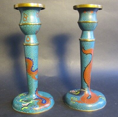 Fine Chinese Qing Dynasty Cloisonne Candle Holders w/ Dragons  c. 1890  antique