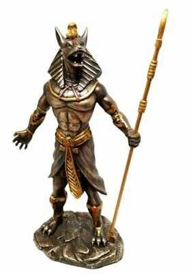 Egyptian Theme Anubis Holding Staff God of Aferlife & Dead Inpu Statue Sculpture