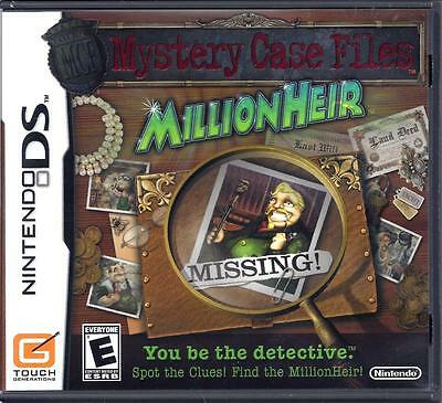 Mystery Case Files: MillionHeir (Nintendo DS, 2008) Inc. Instruction Booklet EUC