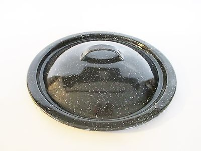 "Round Enamelware Lid 8"" Outer, 7"" Inner Speckled Black and White Vintage"