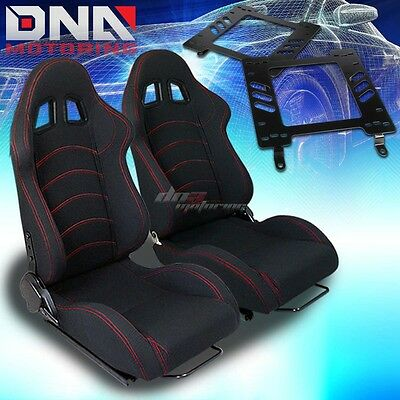 For 82-92 Firebird Trans Am Adapter+Type-1 Black Cloth Racing Seat Reclinable X2
