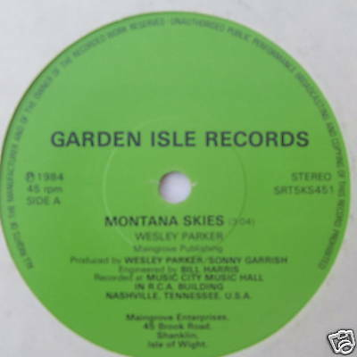 """WESLEY PARKER - Montana Skies - Excellent Con 7"""" Single"""
