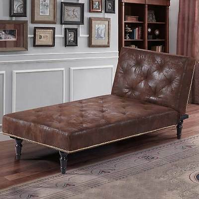 Luxury Vintage Brown Chaise Longue Small Chair Bed Victorian Antique Style