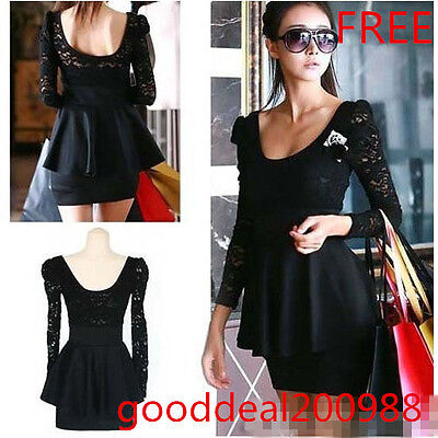Fashion Women Sexy Black Lace Mini Backless Clubbing Cocktail Party Dress FREE