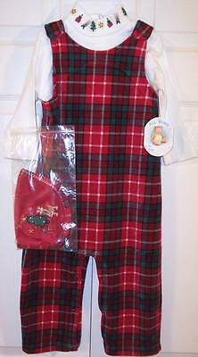 NWT All Mine Boy's 3 Pc. Christmas Holiday Red Plaid Velour Overalls Set, 6-9M