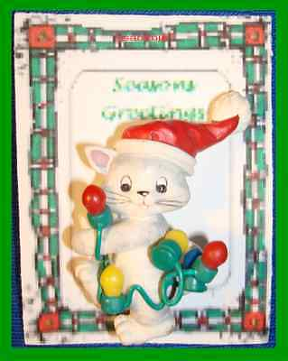 Christmas PIN #0327 Cat w/Red Hat Playing w/Colorful Holiday Lights String VGC