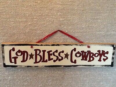 # God Bless Cowboys Wood Hand Painted Western Plaque Home Interiors & Gifts