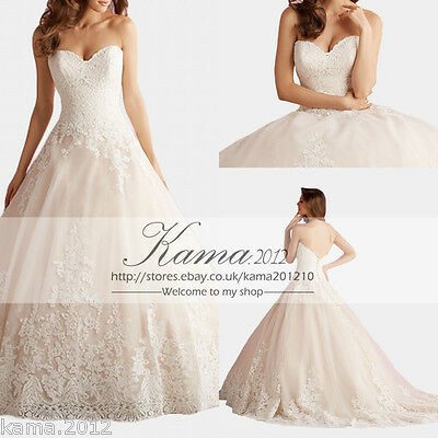 White/Ivory Sweetheart Tulle Lace Wedding Dress Bridal Gown Custom 12 14 16 18++