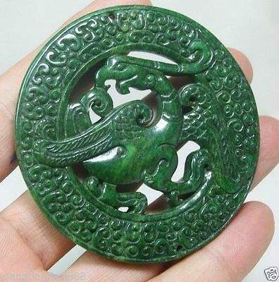 CHINA HANDWORK CARVE OLD GREEN JADE PHOENIX STATUE PENDANT A2