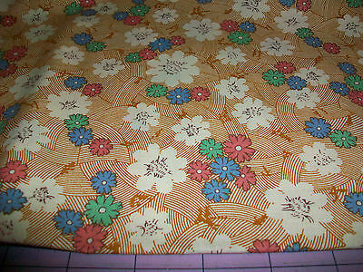 PINK, GREEN & BLUE FLOWERS ON A BASKET WEAVE DESIGN COTTON QUILT FABRIC