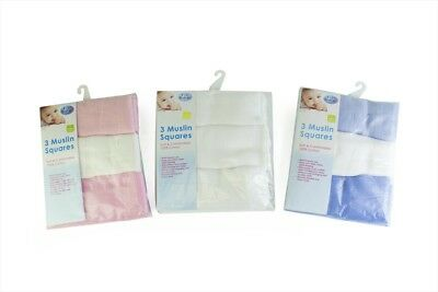 First Steps Pack of 3 Muslin Squares for Baby Soft 100% Cotton 60x60cm