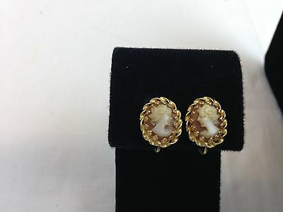 1930's/1940's Very Nice 14K Yellow Gold Hand Carved Shell Italian Cameo Earrings