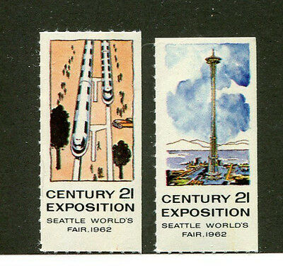 Vintage Poster Stamp Label set of 2 1962 SEATTLE WORLDS FAIR Century 21 Expo