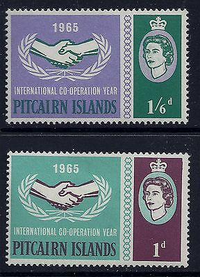 1965 Pitcairn Islands International Cooperation Year Set Of 2 Mint Mm/mh