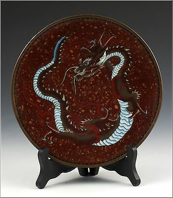 Marvelous Japanese Meiji Period Cloissone dish / Plate w/ Dragon & Gold Stone