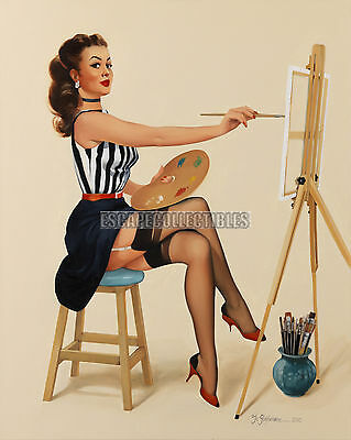 Stephenson Pretty as Picture Vintage Style Artist Painter PinUp Girl Print 11x14
