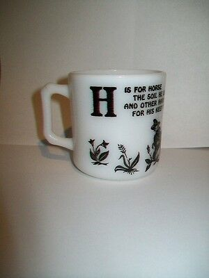 """COLLECTIBLE """"H is for Horse..."""" small cup mug - black on white milk glass"""