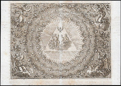 Old Holy Card HOLY TRINITY 18th Century very rare Engraving Angels