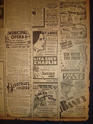 040671CR GIRLS GONE WILD ON WITH THE SHOW MOVIE ADVERT JUNE 30 1929 NEWSPAPER