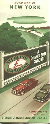 1956 Sterling Gasoline New York  Vintage Road Map /Great Cover Graphics