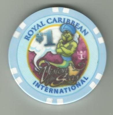 ms VISION of the SEAS..RCI..Cruise ship...$1.00 Casino Chip .Genie lamp ..Male